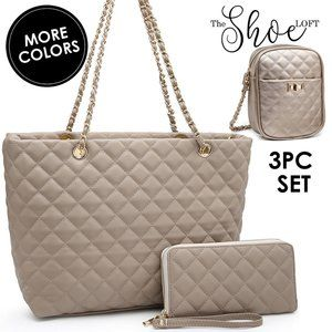Quilted Grand Shopping Tote Set with Crossbody